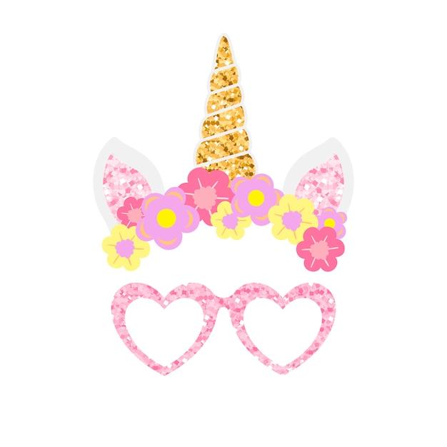 Lindo unicornio foto stand de fiesta apoyos vector vector gratuito
