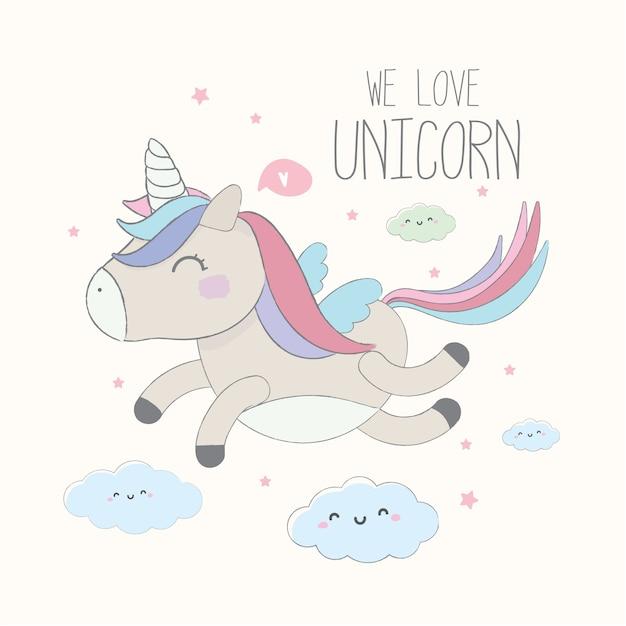 Lindo unicornio ilustración de personaje dibujos