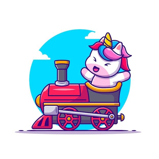 Lindo, unicornio, paseo, en, tren, caricatura vector gratuito