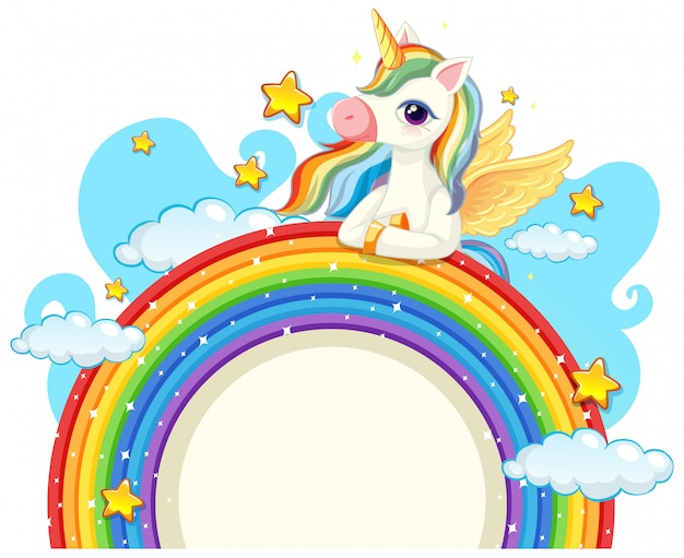 Lindo unicornio sobre arcoiris vector gratuito