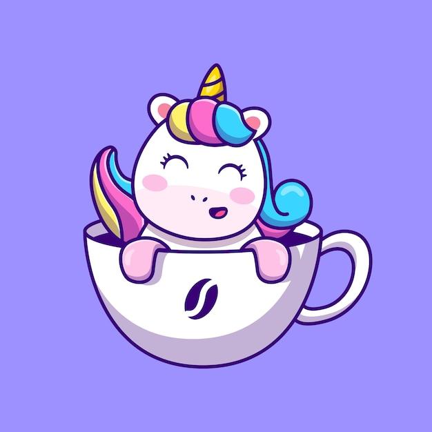 Lindo unicornio en taza de café ilustración vectorial de dibujos animados concepto de comida y bebida animal aislado vector premium. estilo de dibujos animados plana vector gratuito