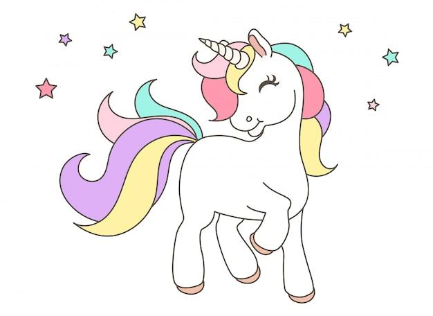 Lindo unicornio Vector Premium