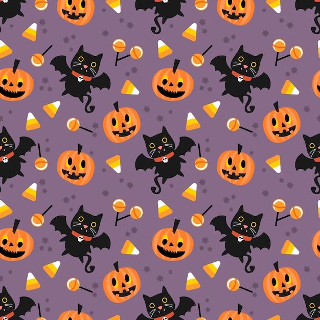 Lindo vampiro y patrón transparente de calabaza de halloween Vector Premium
