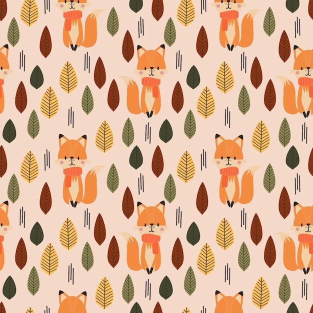 Lindo zorro y otoño de patrones sin fisuras. Vector Premium
