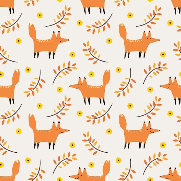 Lindo zorro en otoño vector de patrones sin fisuras. Vector Premium