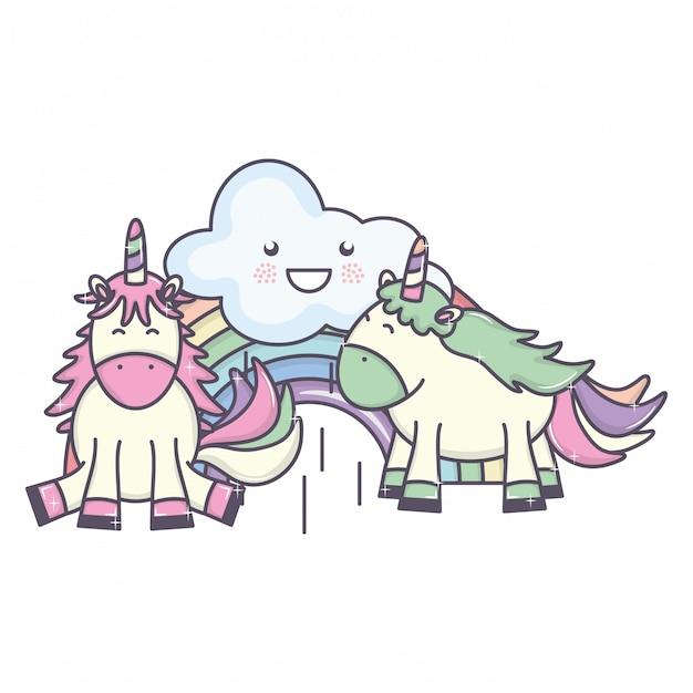 Lindos adorables unicornios con nubes y arco iris kawaii vector gratuito
