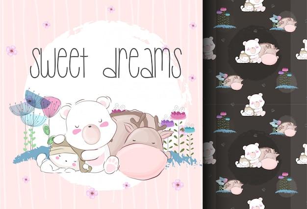 Lindos animales bebé durmiendo con patrones sin fisuras Vector Premium