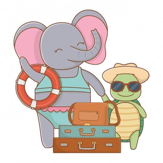 Lindos animales disfrutando de las vacaciones de verano. vector gratuito