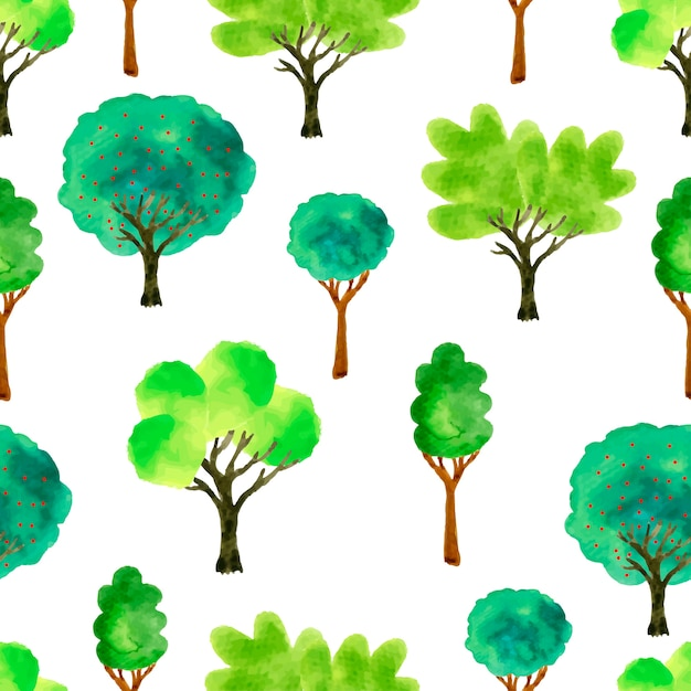 Lindos árboles de acuarela. primavera de patrones sin fisuras. Vector Premium