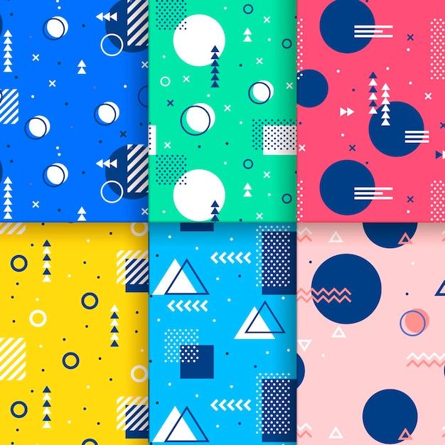 Lindos círculos y triángulos de patrones sin fisuras de memphis vector gratuito