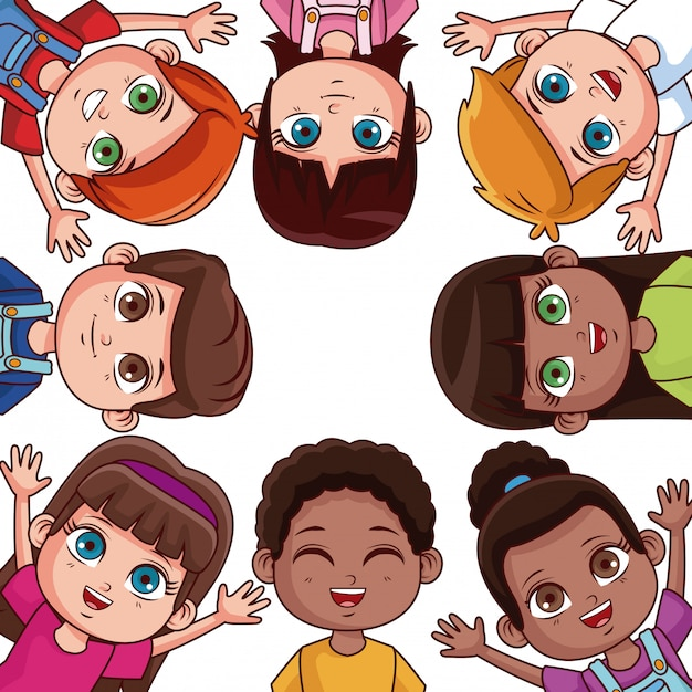 Lindos dibujos animados de amigos de niños alrededor de