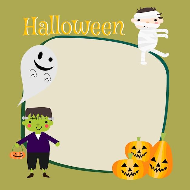 Lindos disfraces de halloween para niños de fondo. Vector Premium