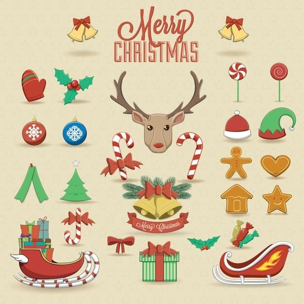 Lindos elementos navideños vector gratuito