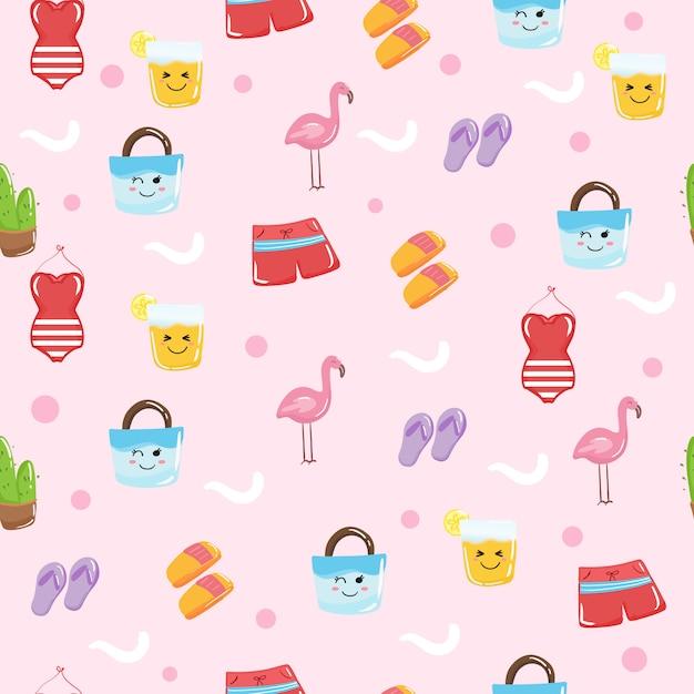 Lindos elementos de verano kawaii para papel tapiz de patrones sin fisuras Vector Premium