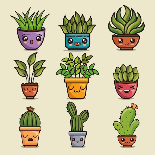 Lindos y encantadores dibujos de plantas de casa kawaii | Vector ...