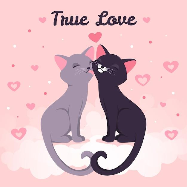 Lindos gatitos besándose ilustrado vector gratuito