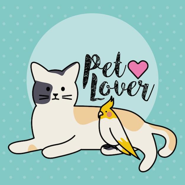Lindos gatos y aves adorables personajes adorables. vector gratuito