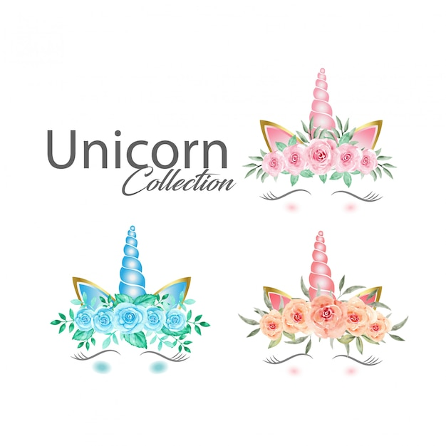 Lindos gráficos de unicornio con colección de flores de acuarela Vector Premium