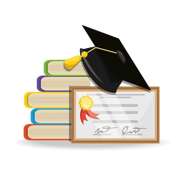 Lindos libros con diploma y gorra de graduación | Descargar Vectores ...