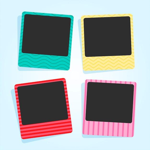 Lindos marcos de fotos en diferentes colores y patrones. vector gratuito