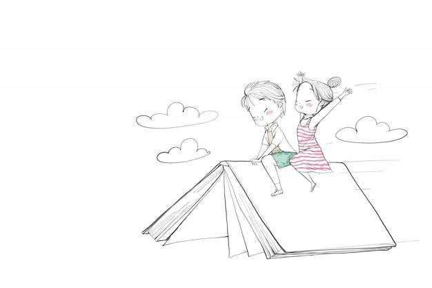 Lindos niños montando un libro. Vector Premium