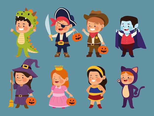 Lindos niños vestidos como diferentes personajes, diseño de ilustraciones vectoriales Vector Premium