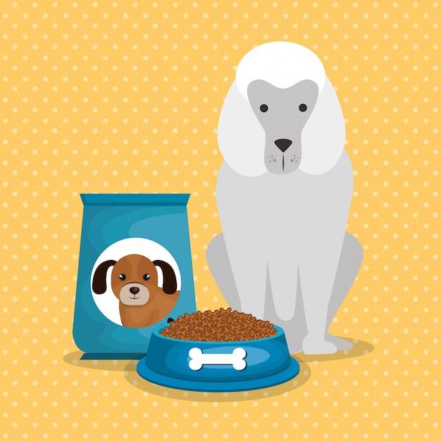 Lindos perros con comida vector gratuito