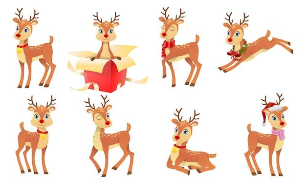 Lindos renos navideños Vector Premium