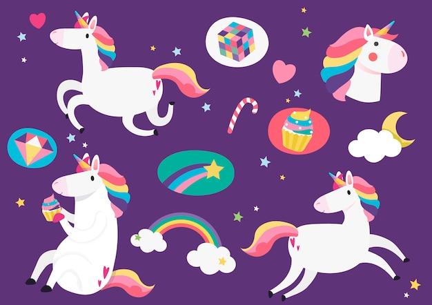 Lindos unicornios con el elemento mágico pegatinas vector vector gratuito