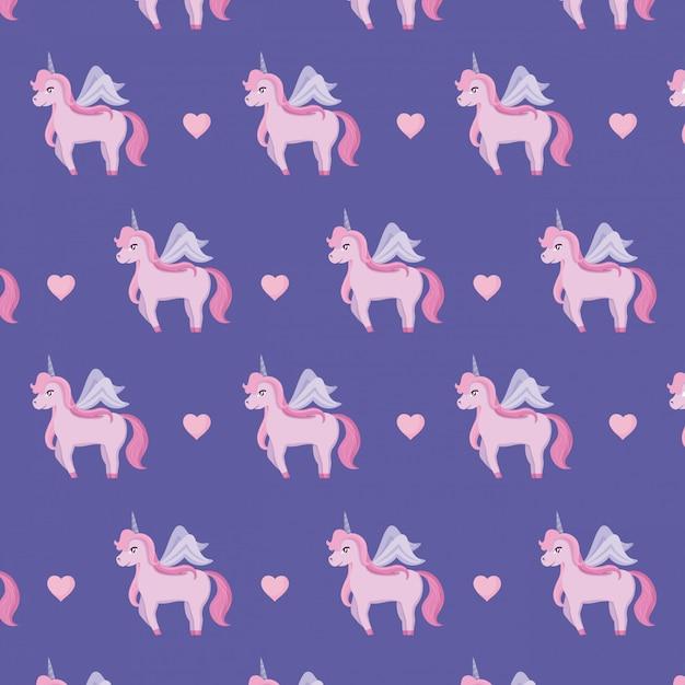 Lindos unicornios de patrón de cuento de hadas. Vector Premium