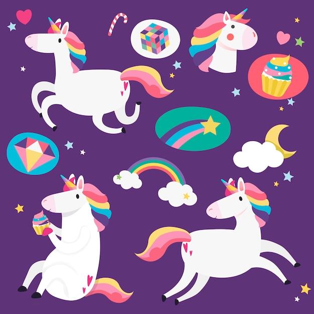 Lindos unicornios con vector de elementos mágicos vector gratuito