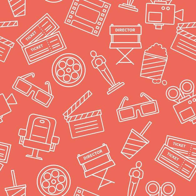 Line cinema pattern vector gratuito