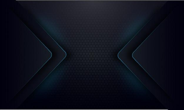 Línea abstracta resplandor azul sobre fondo oscuro Vector Premium