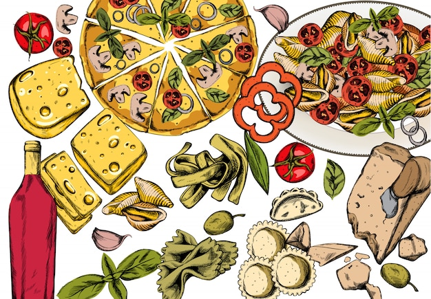 Línea arte composición de comida italiana con deliciosa pizza, pasta con tomate, queso y vino tinto. vector gratuito