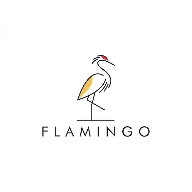 Línea de color del logo flamenco Vector Premium