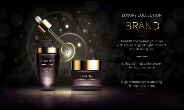 Línea cosmética nocturna para el cuidado facial de la piel. vector gratuito