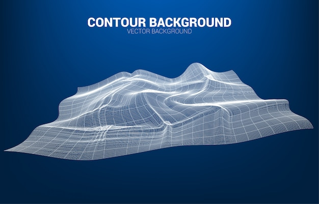 Línea curva de contorno digital y onda con estructura metálica. fondo abstracto para el concepto de tecnología futurista 3d Vector Premium