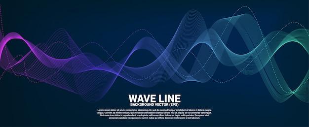 Línea curva de la onda de sonido azul y verde sobre fondo oscuro. Vector Premium