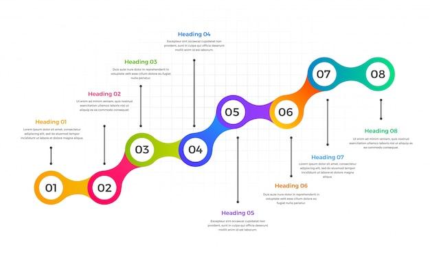 L nea de tiempo dise o de infograf a con ocho 8 pasos for Escaleras 8 pasos