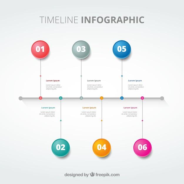 Línea de tiempo elegante con etapas de colores | Descargar Vectores ...