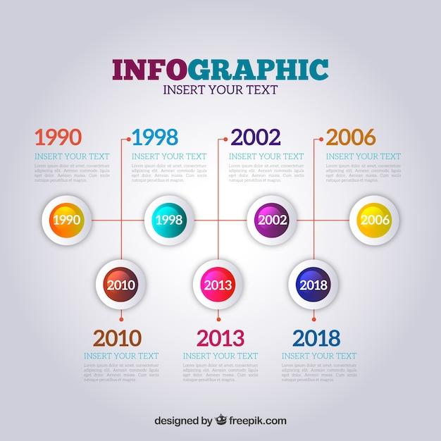Línea de tiempo en infografía en estilo realista Vector Gratis