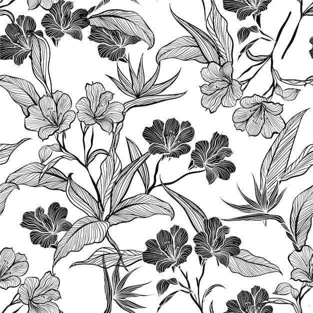 Línea de flores y plantas botánicas en el jardín ilustración de vector de patrones sin fisuras. Vector Premium