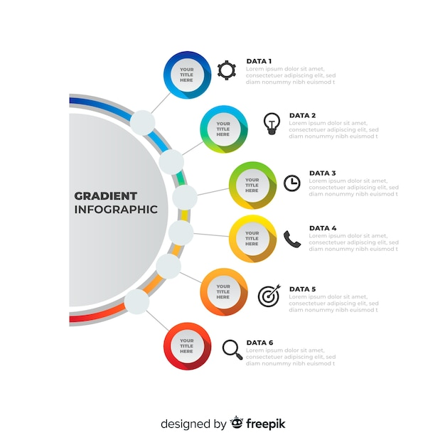 Línea infografía degradada diseño plano colorido vector gratuito