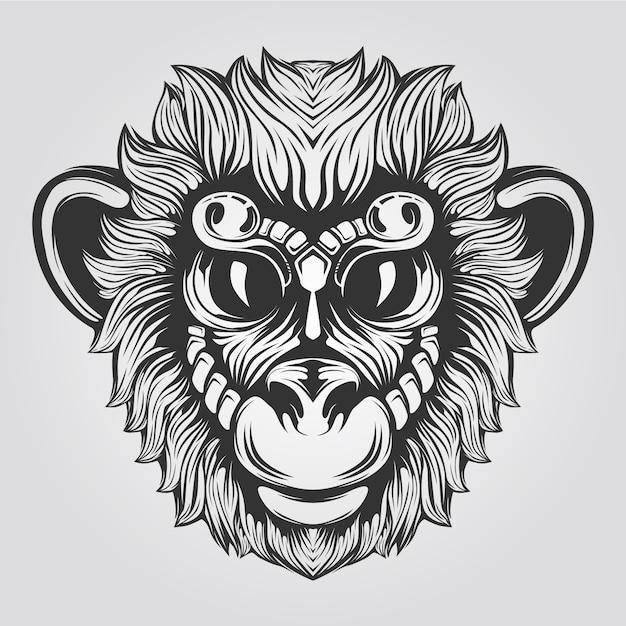 Línea de mono blanco y negro con ojos grandes Vector Premium