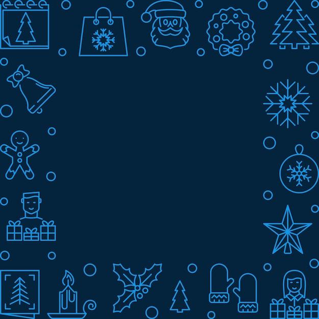 Línea de navidad marco cuadrado azul - fondo Vector Premium