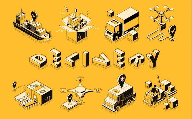 Línea de negocio de entrega de arte, banner vector isométrica. vector gratuito