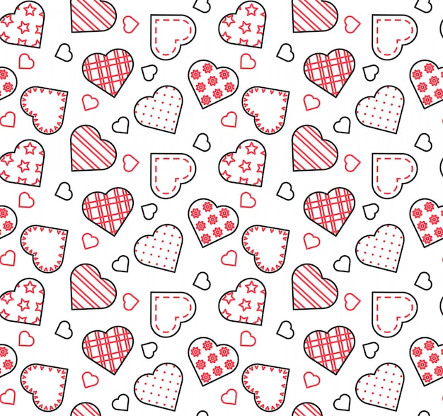 Línea de negro, blanco y rojo de patrones sin fisuras para el día de san valentín, amor, tema de la fecha. Vector Premium