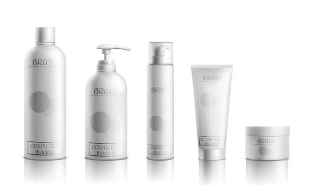 Línea de productos cosméticos para el cuidado de la piel. vector gratuito