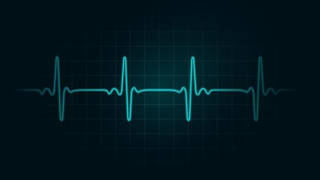 Línea de pulso en el fondo de la tabla verde del monitor. ilustración sobre monitor de ritmo cardíaco y cardiograma. Vector Premium