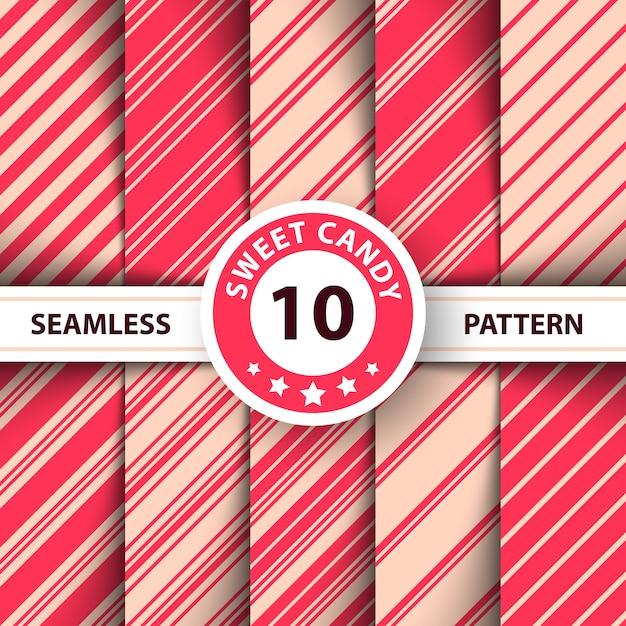 Línea de rayas dulce patrón de feliz navidad. Vector Premium